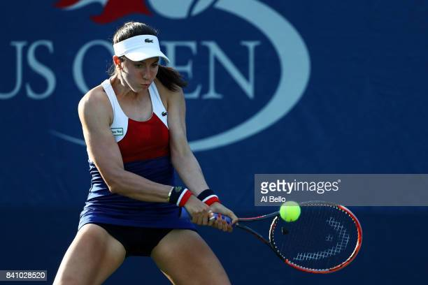 Christina McHale of the United States returns a shot against Anastasia Pavlyuchenkova of Russia during their first round Women's Singles match on Day...