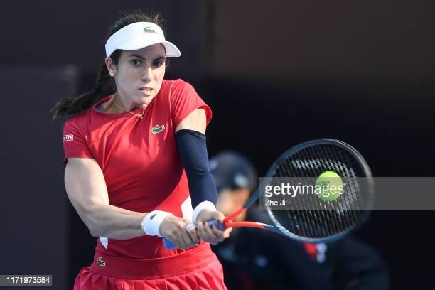 Christina McHale of the United States returns a shot against Svetlana Kuznetsova of Russia during women's singles first round match of 2019 China...
