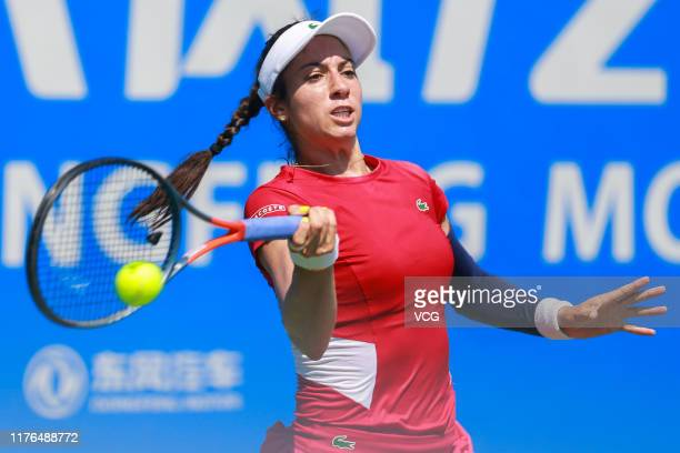 Christina McHale of the United States returns a shot in the first round match against Anastasija Sevastova of Latvia on Day two of 2019 Dongfeng...