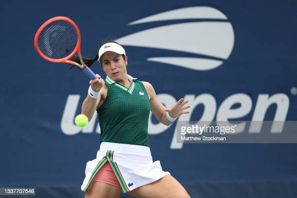 Christina McHale of the United States returns the ball against Barbora Krejcikova of Czech Republic during her Women's Singles second round match on...