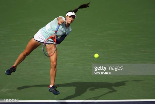 Christina McHale of the United States serves against Venus Williams of the United States during their women's singles third round match on day eight...