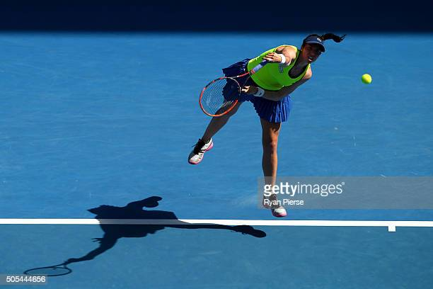 Christina McHale of the United States serves in her first round match against Agnieszka Radwanska of Poland during day one of the 2016 Australian...