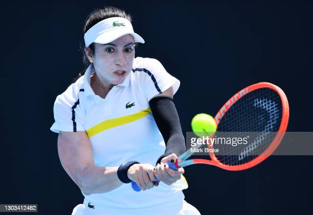 Christina McHale of the USA hits a backhand during her round one match against Maddison Inglis of Australia at Memorial Drive on February 22, 2021 in...