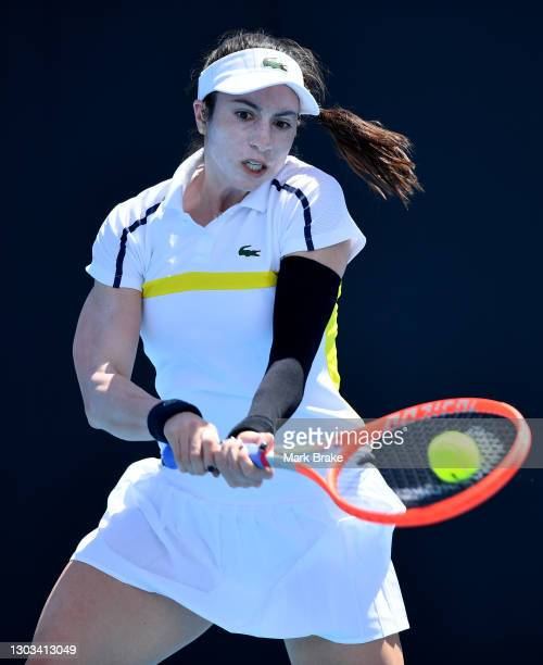 Christina McHale of the USA hits a backhand during her round one match against Maddison Inglis of Australiaat Memorial Drive on February 22, 2021 in...