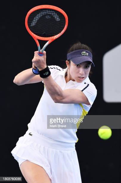 Christina McHale of the USA plays a back hand during her match against Anastasia Sevastova of Latviaon day three of the Adelaide International WTA...