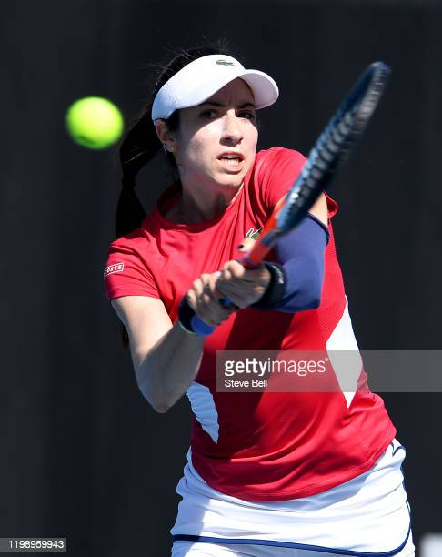 Christina McHale of the USA plays a backhand against Arantxa Rus of the Netherlands on day two of the 2020 Hobart International at Domain Tennis...