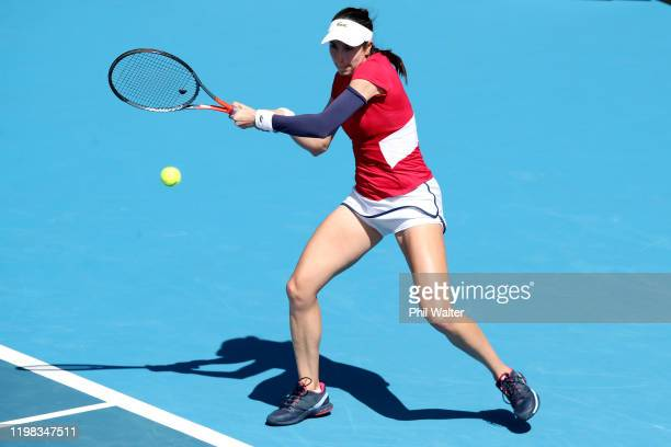 Christina McHale of the USA plays a backhand in her match against Serena Williams of the USA during day four of the 2020 Women's ASB Classic at ASB...