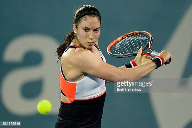 Christina McHale of the USA plays a backhand shot in her second round match against Agnieszka Radwanska of Poland during day three of the 2017 Sydney...