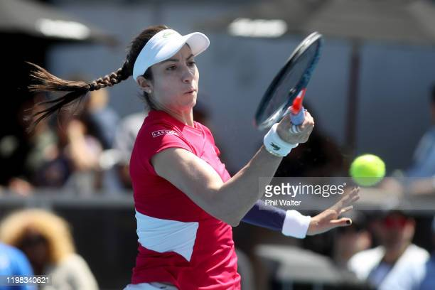 Christina McHale of the USA plays a forehand in her match against Serena Williams of the USA during day four of the 2020 Women's ASB Classic at ASB...