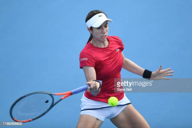 Christina McHale of the USA plays a forehand shot during her first round match against Elise Mertens of Belgium on day four of the 2020 Hobart...