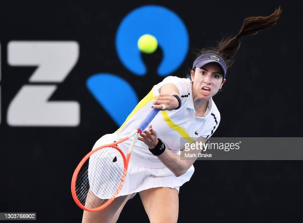 Christina McHale of the USA serves during her match Anastasia Sevastova of Latviaagainst on day three of the Adelaide International WTA 500 at...