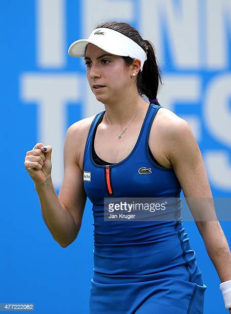 Christina McHale of USA celebrates a point against Alize Cornet of France on day one of the Aegon Classic at Edgbaston Priory Club on June 15, 2015...