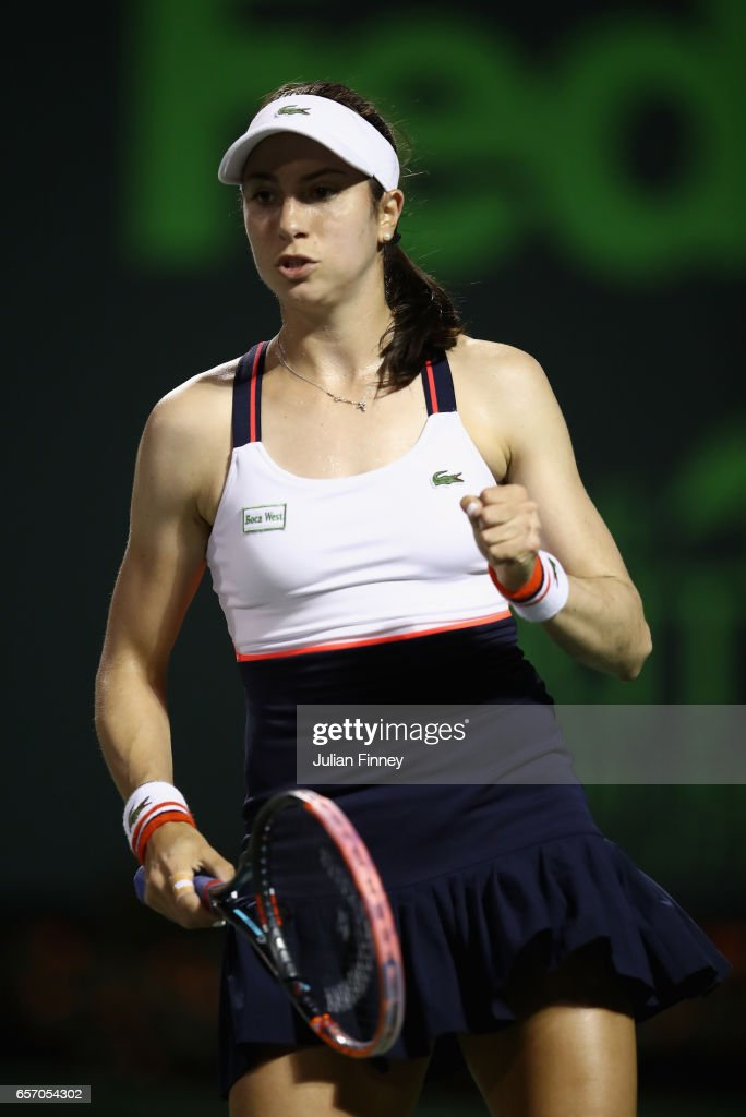 Christina McHale of USA celebrates winning a game in her match against Garbine Muguruza of Spain in her match against C at Crandon Park Tennis Center on March 23, 2017 in Key Biscayne, Florida.