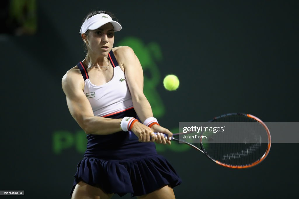 Christina McHale of USA in action against Garbine Muguruza of Spain in her match against C at Crandon Park Tennis Center on March 23, 2017 in Key Biscayne, Florida.