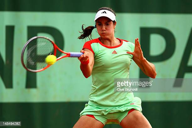 Christina McHale of USA plays a forehand in her women's singles second round match against Lauren Davis of USA during day 5 of the French Open at...