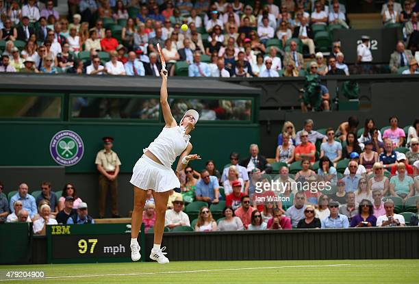 Christina McHale of USA serves in her match against Sabine Lisicki of Germany during their Women's Singles Second Round match during day four of the...