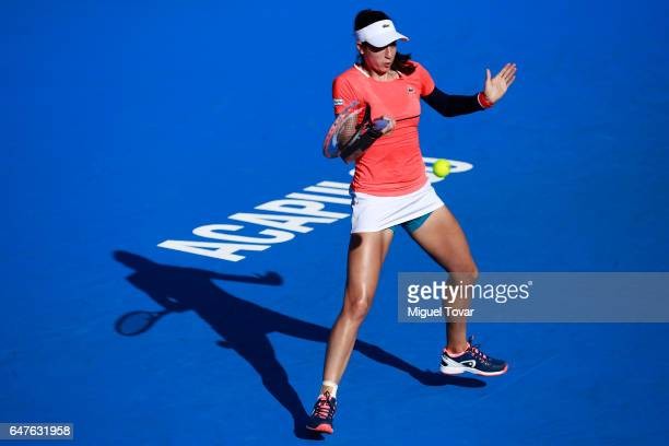 Christina Mchale plays a forehand during the match between Christina McHale and Kristina Mladenovic as part of the Abierto Mexicano Telcel 2017 at...