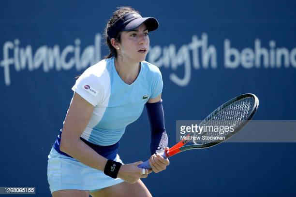 Christina McHale plays Ida Swiatek of Poland during the Western & Southern Open at the USTA Billie Jean King National Tennis Center on August 23,...