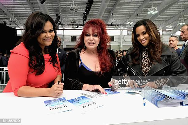 Christina Mendez, Iris Chacon and Dascha Polanco pose backstage during the 5th Annual Festival PEOPLE En Espanol, Day 1 at the Jacob Javitz Center on...