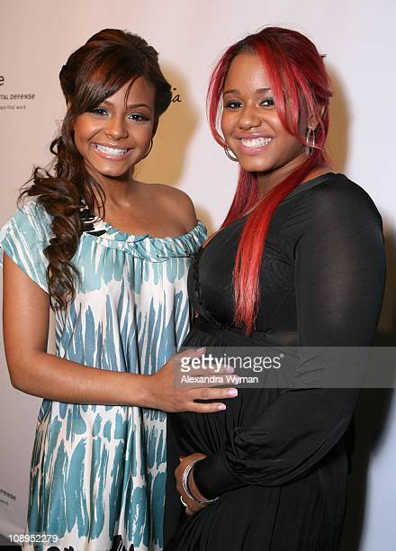 Christina Milian and sister, Danielle during Max & Lubov Azria, Eva Mendes and W Host Unveiling of Artist Patrick Dougherty's First Major Outdoor Art...