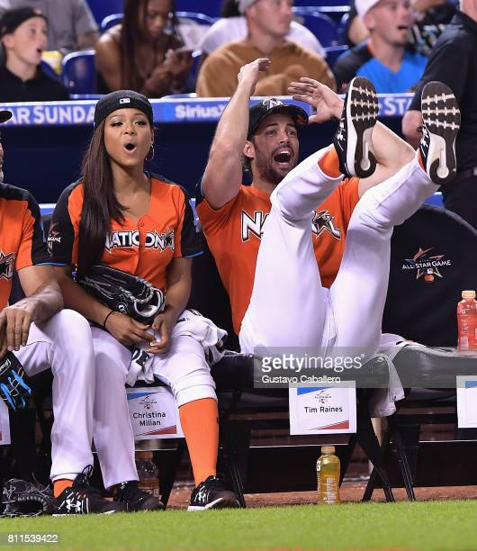 Christina Milian and William Levy attends the 2017 MLB AllStar Legends and Celebrity Softball at Marlins Park on July 9 2017 in Miami Florida