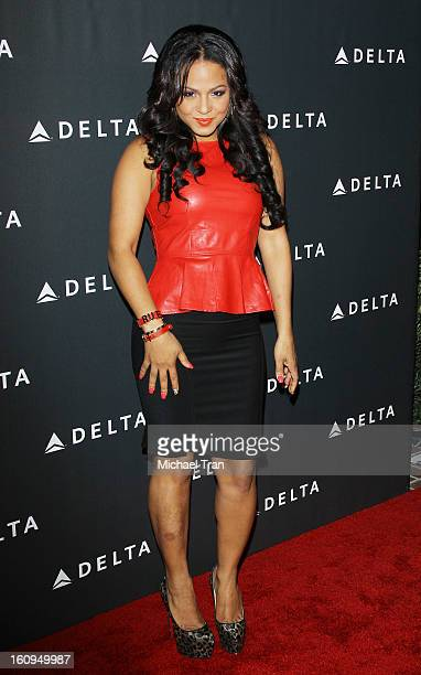 Christina Milian arrives at Delta Air Lines celebrates the GRAMMY Awards held at The Getty House on February 7 2013 in Los Angeles California