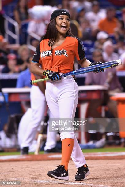 Christina Milian attends the 2017 MLB AllStar Legends and Celebrity Softball at Marlins Park on July 9 2017 in Miami Florida