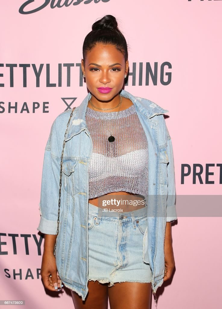 Christina Milian attends the PrettyLittleThing campaign launch for PLT SHAPE with brand ambassador Anastasia Karanikolaou on April 11, 2017 in Los Angeles, California.