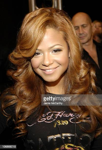 """Christina Milian during Olympus Fashion Week Fall 2006 - """"Heart Truth Red Dress"""" - Backstage at Bryant Park in New York City, New York, United States."""