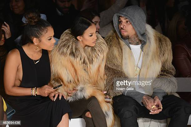 Christina Milian, Karrueche Tran, and Chris Brown attend the Michael Costello fashion show during Mercedes-Benz Fashion Week Fall 2015 at The Salon...