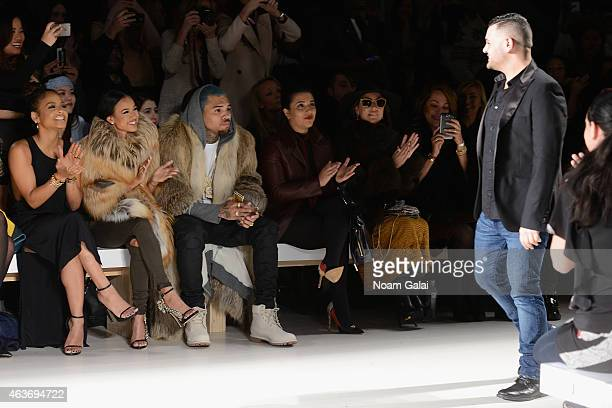 Christina Milian Karrueche Tran Chris Brown and designer Michael Costello attend the Michael Costello fashion show during MercedesBenz Fashion Week...
