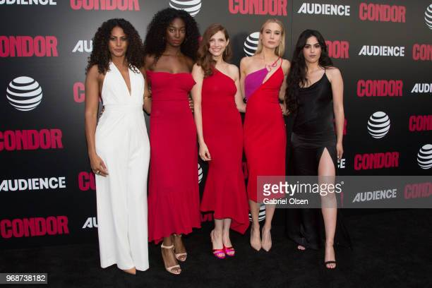 Christina Moses Mouna Traore Katherine Cunningham Kristen Hager and Leem Lubany arrive for the premiere of ATT Audience Network's Condor at NeueHouse...