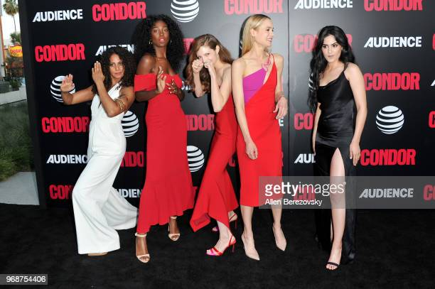 Christina Moses Mouna Traore Katherine Cunningham Kristen Hager and Leem Lubany attend the premiere of ATT Audience Network's Condor at NeueHouse...