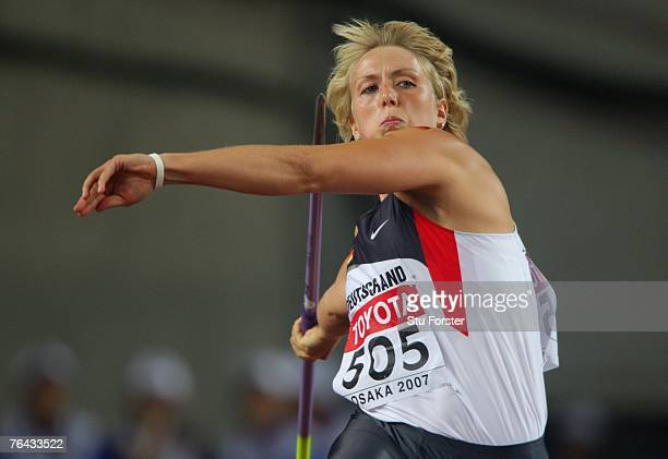 Christina Obergfoell of Germany competesin the Women's Javelin Throw Finals on day seven of the 11th IAAF World Athletics Championships on August 31...