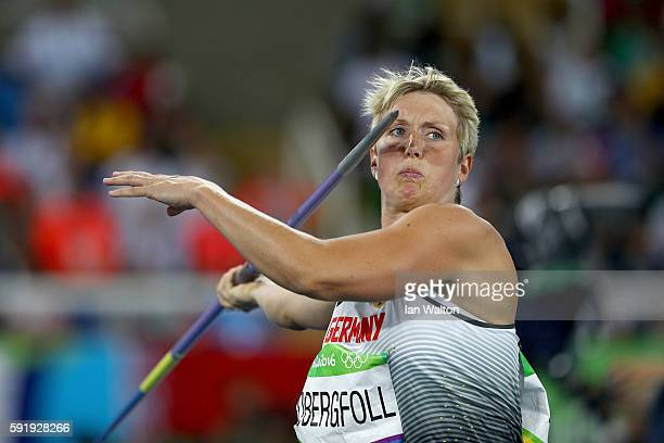 Christina Obergfoll of Germany competes during the Women's Javelin Throw Final on Day 13 of the Rio 2016 Olympic Games at the Olympic Stadium on...
