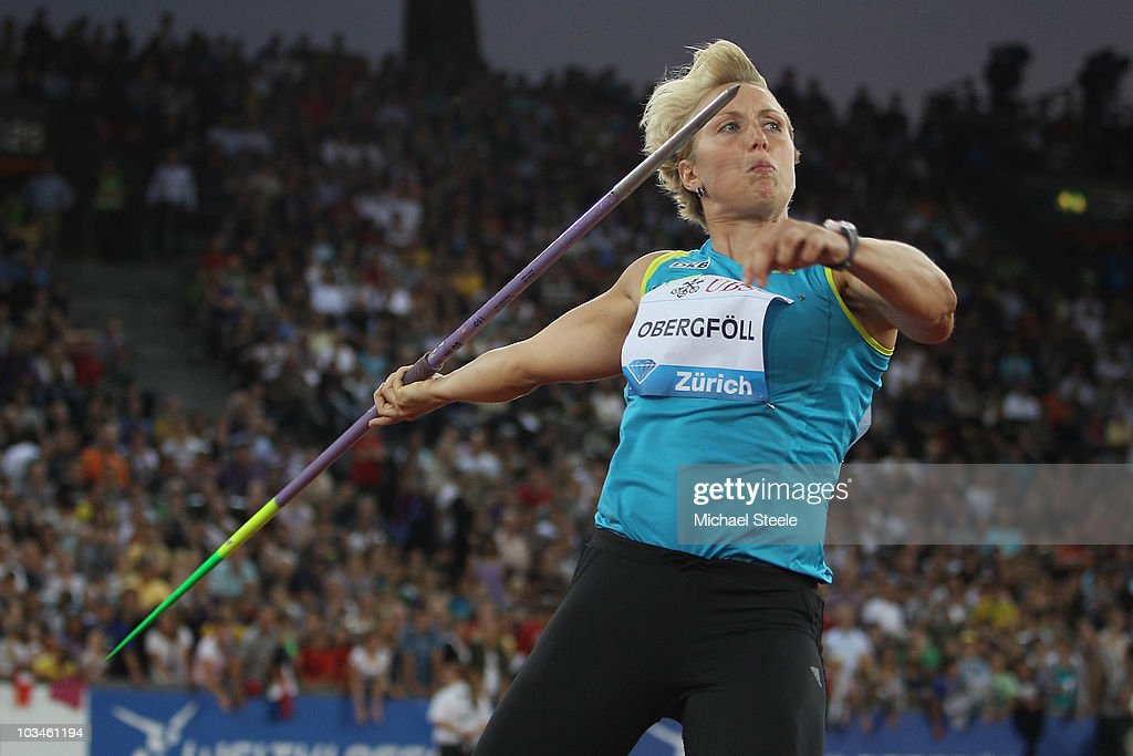 Christina Obergfoll of Germany on her way to victory in the women's javelin during the Iaaf Diamond League meeting at the Letzigrund Stadium on August 19, 2010 in Zurich, Switzerland.