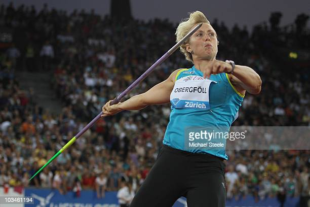 Christina Obergfoll of Germany on her way to victory in the women's javelin during the Iaaf Diamond League meeting at the Letzigrund Stadium on...