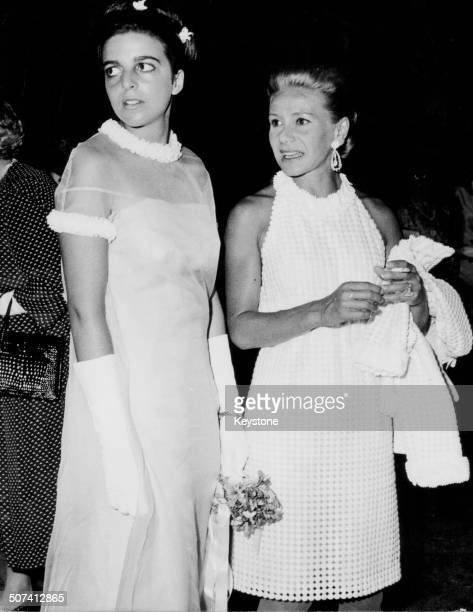 Christina Onassis and her mother Athina Livanos Blandford attending a society wedding in Athens circa 1970