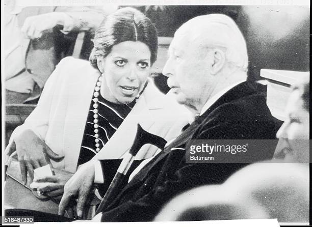 Christina Onassis chats with former British Premier Harold MacMillan during Saturday's ceremony for presentation of the Alexander Onassis awards...