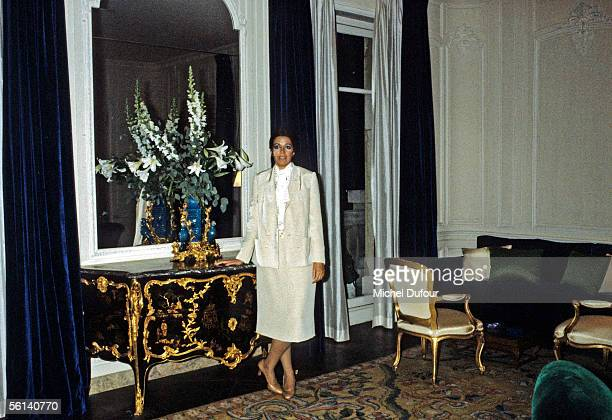 Christina Onassis daughter of Greek shipping magnet Aristotle Onassis is seen at her flat on Avenue Foch in Paris France