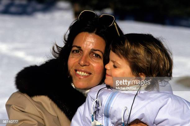 Christina Onassis daughter of Greek shipping magnet Aristotle Onassis is seen with her daughter Athina in St Moritz Switzerland