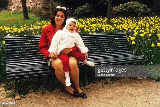 Christina Onassis daughter of Greek shipping magnet Aristotle Onassis poses with her daughter Athina at Le Jardin d'Acclimation in Paris France