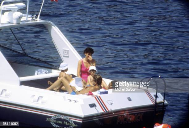 Christina Onassis daughter of Greek shipping magnet Aristotle Onassis Thierry Roussel and their daughter Athina are seen during their holiday in...