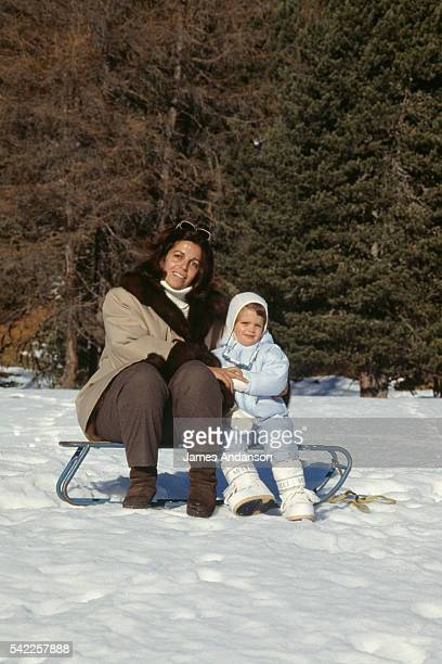 Christina Onassis with her daughter Athina Onassis Roussel, nearly three years old, during their winter vacation.