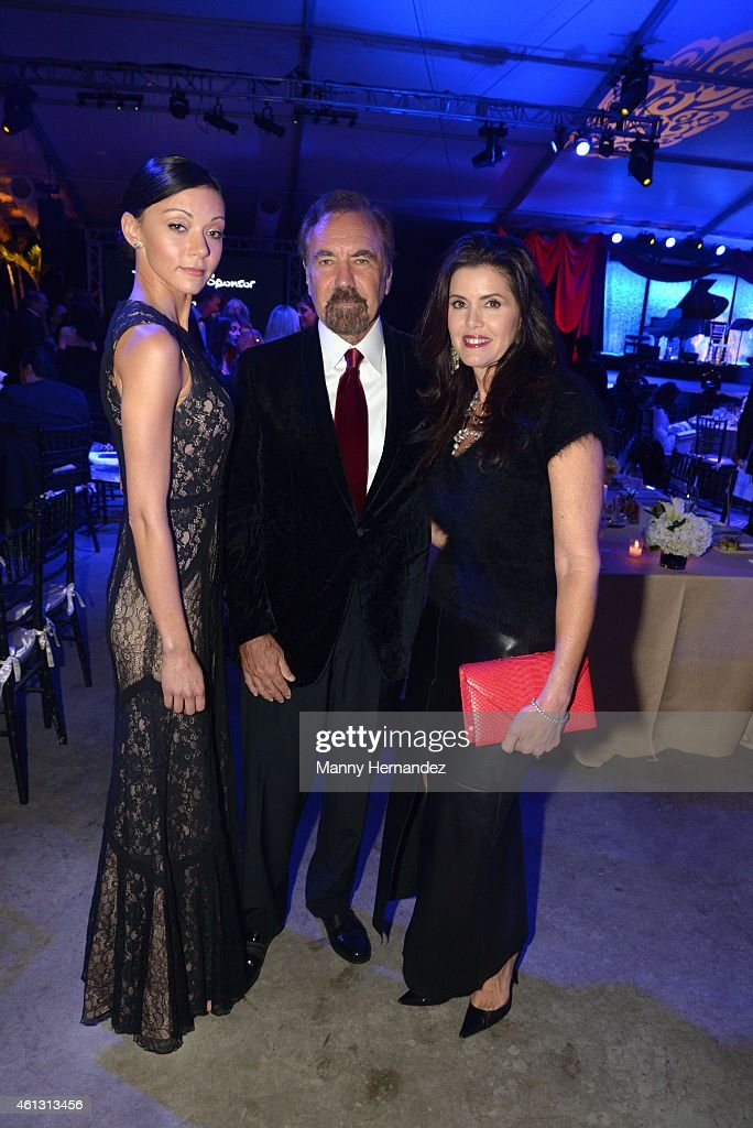 Christina Perez, Jorge Perez and Darlene Perez attend 2015 YoungArts Backyard Ball at YoungArts Campus on January 10, 2015 in Miami, Florida.