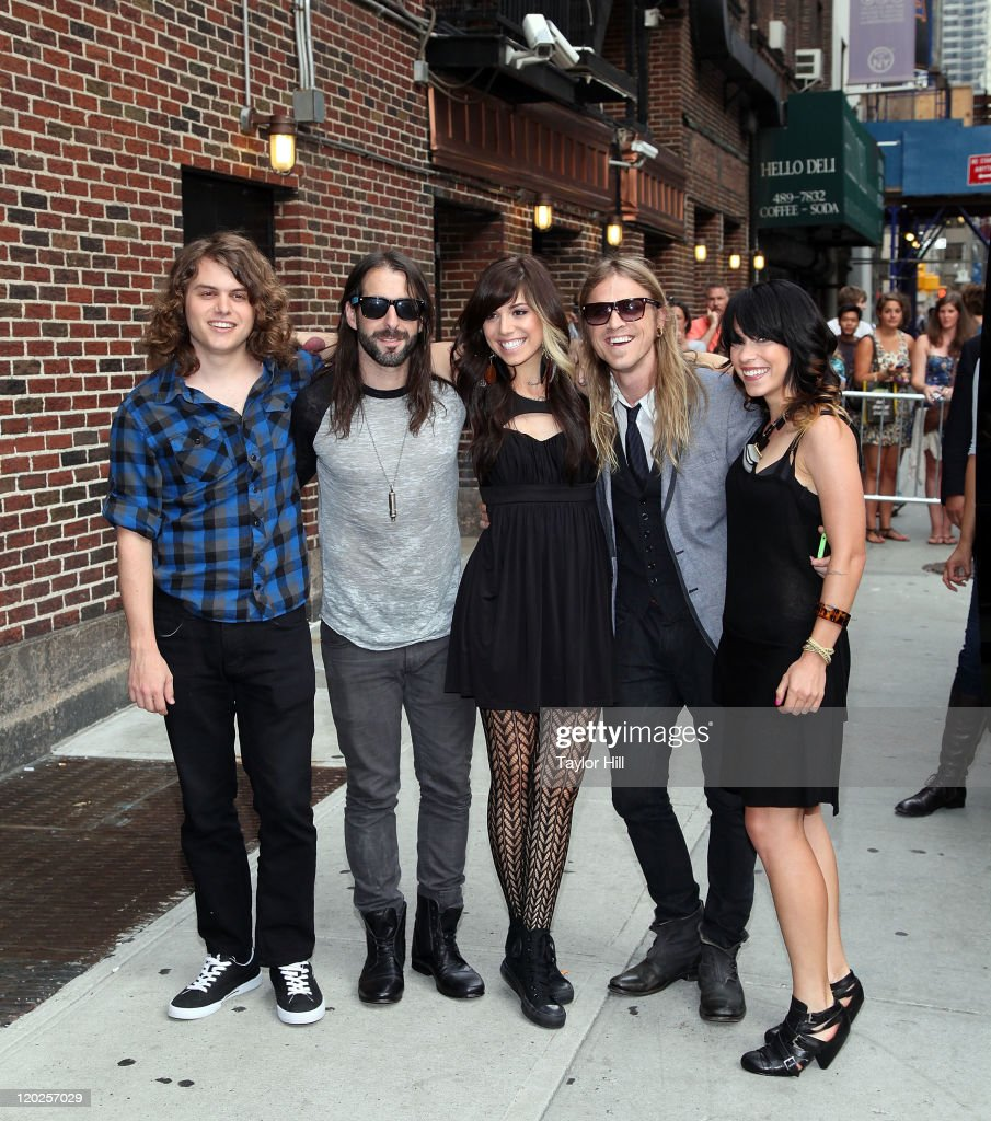 Christina Perri (C) and her band attend 'Late Show With David Letterman' at the Ed Sullivan Theater on August 1, 2011 in New York City.