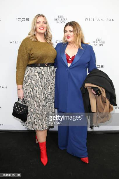 Christina Porstner and German singer Alina Wichmann alias Alina arrive at the William Fan Defile during 'Der Berliner Salon' Autumn/Winter 2019 at...
