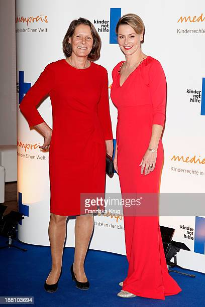 Christina Rau and Anja Reschke attend the 15th Media Award By Kindernothilfe at Hauptstadtrepraesentanz Deutsche Telekom AG on November 15 2013 in...