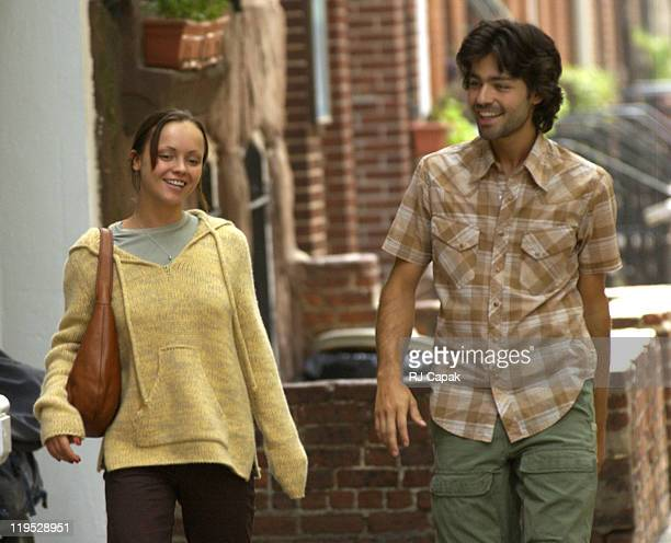 Christina Ricci Adrian Grenier during Christina Ricci Adrian Grenier Jason Biggs and Woody Allen On Location for Allen's Untitled Spring Project at...