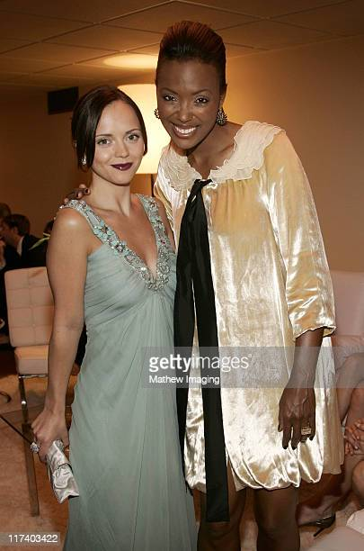Christina Ricci and Aisha Tyler during 58th Annual Creative Arts Emmy Awards Green Room at The Shrine Auditorium in Los Angeles California United...